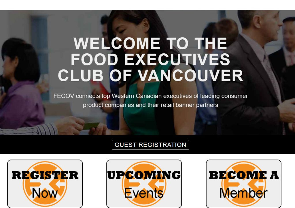 Food Executives Club of Vancouver, website designed by Fern Web Design Services