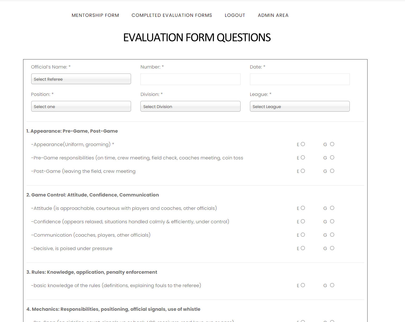 Online dynamic evaluation forms